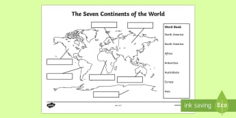 The Seven Continents Labelling Worksheet / Activity Sheet