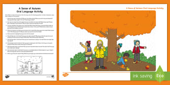 A Sense of Autumn Oral Language Activity - Story, seasons, Aistear, school trip, forest, blackberries, squirrels, leaves, bark, literacy, readi