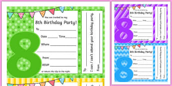 8th Birthday Party Invitations - 8th birthday party, 8th birthday, birthday party, invitations