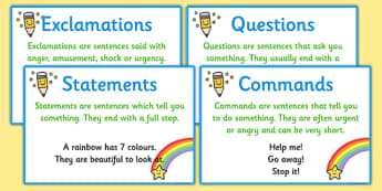 Types of Sentence Prompt Cards - types of sentence, prompt cards, sentence prompt cards, types of sentence cards, types of prompt cards