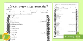 Ficha de actividad: ¿Dónde viven estos animales? - Hábitats - Animales, hábitats, dónde viven, clasificación, grupos