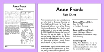 Anne Frank Significant Individual Fact Sheet - anne frank, world war 2, nazi, germany, jewish