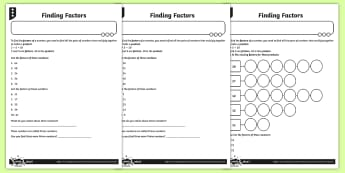 Finding Factors Activity Sheets