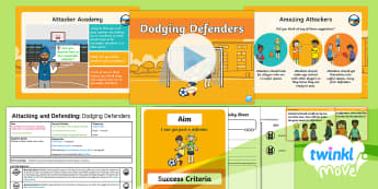 Twinkl Move - Year 1 Attacking and Defending: Lesson 5 - Dodging Defenders - Move, Attacking, defending, dodge, player, team, game, ks1, planning, plans, powerpoint, game, physi