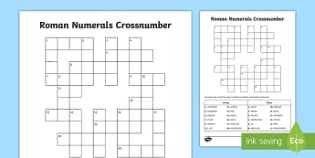 UKS2 Roman Numerals as Years Crossnumber Activity Sheet - Roman numerals, dates, millennium, year, annual, date, decade, centuries