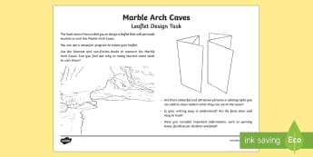 Marble Arch Caves Leaflet Design Task - Northern Ireland, Marble Arch Caves, explore, tourist, council, worksheet