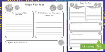 New Year's Resolution Writing Frame - New Years, resoultions, writing, frame