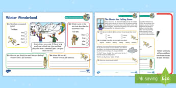 KS1 Winter Wonderland Focused Reading Skills Comprehension Pack - Year 1, Year 2, comprehension, understanding, reading dogs, SATs style questions, content domains