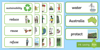 F-2 Sustainability Word Cards - Plastic Bottles, Sustainability, Recycle, Reduce, Reuse, Vocabulary, language, key, Refuse, Environm