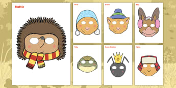 Don't Hog the Hedge! Role-Play Masks - Twinkl Originals, Fiction, Autumn, Hibernate, Woodland, Animals, KS1, EYFS, Speaking and Listening,