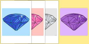 Little Gem Cut-Outs - gem, stones, precious, class, labels, signs, name, eyfs, ks1, ks2