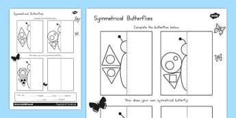 Butterfly Symmetry Shape Worksheet - australia, symmetry, shape