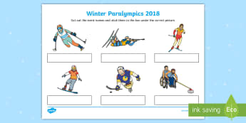 Winter Paralympics Events Matching SEN Activity Sheet - worksheet, south korea, sporting events, snow sports, competitive events, disability awareness, insp