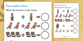 Pirate Addition Sheet - pirate, pirates, pirate addition, pirate addition worksheet, pirate counting and addition, pirate counting, pirate numeracy, counting