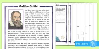 KS1 Galileo Galilei Differentiated Comprehension Go Respond Activity Sheets - Galileo, Galilei, solar system, planet, planets, star, stars, sun, moon, moons, Earth, Jupiter, orbi