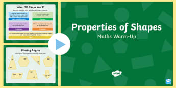 Year 6 Properties of Shapes Maths Warm-Up PowerPoint - KS2 Maths warm up powerpoints, warm up, warm-up, warmup, starter, mental starters, Y6, maths, curric