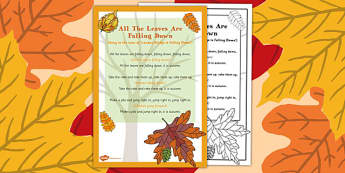 All the Leaves are Falling Down Rhyme - autumn, rhyme, music, eyfs, early years, leaves, falling down