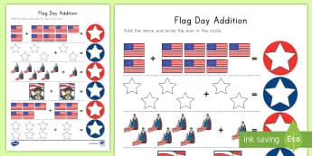 Flag Day Addition Activity - Flag Day, addition, Betsy Ross, George Washington, Stars and Stripes, US Flag