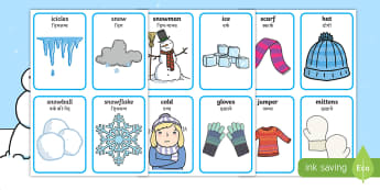 Winter Pairs Matching Cards English/Hindi - Winter, Game, activities, activity, pair,gloves, wool, scarf, ice, mittens