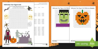 Halloween Four-Figure Grid Reference Activity Sheet - Geography, KS3, Four-figure grid references, Halloween, map skills, worksheet