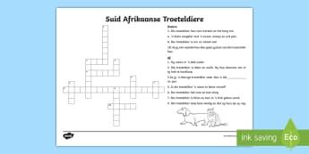 Suid-Afrikaanse Troeteldiere Blokkiesraaisel  - blokkiesraaisel, troeteldiere, woordeskat, suid-afrika, diere