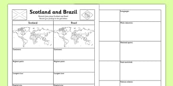 Scotland and Brazil Research Activity Sheet - Comparison study, Brazil, Scotland, Olympics, research grid, SOC 2-19a, worksheet