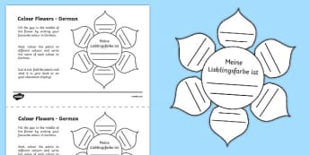 MFL German Colour Flowers Worksheet / Activity Sheet, worksheet