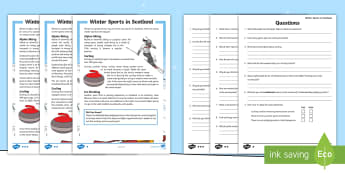 CfE Second Level Winter Sports in Scotland Differentiated Reading Comprehension Activity - Seasons, 2nd level, literacy, English, questions, Scottish outdoor activities, skiing, sledging