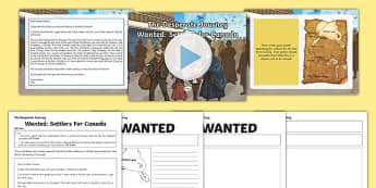 Wanted: Settlers for Canada to Support Teaching on The Desperate Journey Presentation Pack - highlgand clearances, ks2, scotland, scottish, north america, travel, expedition, history, geography, literacy, story, cfe curriculum for excellence