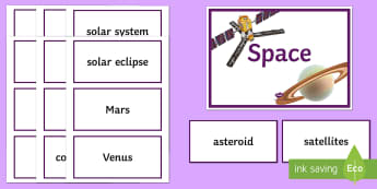Space Word Wall - Word Wall, Space, Planets, Day, Month, Year, Satellites, Orbit, Eclipse