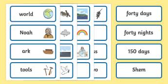 Noah's Ark Word Cards - Noah's Ark, word cards, cards, flashcards, noah, tools, ark, animals, rain, rainbow, flood, dove, land