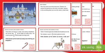 UKS2 Add and Subtract Fractions Christmas QR Challenge Cards - Year 5, Y5, Year 6, Y6, Word problems, Quiz, reasoning, mastery