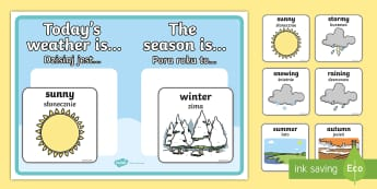 Weather and Season Display Poster - English/Polish - Weather and Season Display Poster - weather and seasons, weather, seasons, display poster, display,