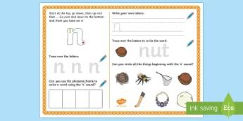 UAE EY 'n' Sound Activity Mat - Letters and Sounds, grapheme, phoneme, satpin, letter formation, handwriting, EYFS, Development matt