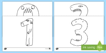 Monster Numbers Colouring Pages - numerals, colour, numbering, number order, number recognition, 1-10, maths, numeracy
