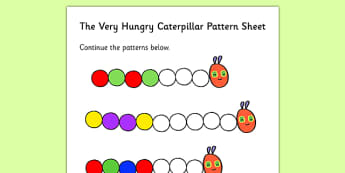 Colour Sequences Worksheet to Support Teaching on The Very Hungry Caterpillar - numbers, counting, patterns, numeracy booklet, repeating patterns, counting, addition, adding, more than, numbers, the Very Hungry Caterpillar,  Eric Carle, resources, Hu