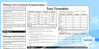History: The Railways LKS2 Unit Home Learning Tasks