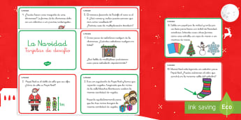 Tarjetas de desafío de matemáticas de atención a la diversidad: La Navidad - navidad, navideño, problemas matemáticos