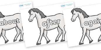 KS1 Keywords on Horses - KS1, CLL, Communication language and literacy, Display, Key words, high frequency words, foundation stage literacy, DfES Letters and Sounds, Letters and Sounds, spelling