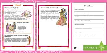 Diwali Leseverstehen Arbeitsblätter: Unterschiedliche Schwierigkeitsgrade - Divali, Hinduismus, Lichterfest, Lesen, Leseverständnis, Religion,,German