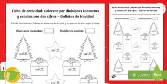 Ficha de actividad: Colorear por divisiones inexactas y exactas con dos cifras – Galletas de Navidad - Navidad, dividir, división, repartir, cifras, escrito, escrita, método, Spanish
