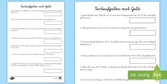 Textaufgaben mit Geld Arbeitsblatt - Euro, Cent, Rechnen, EU, Währung,Spanish