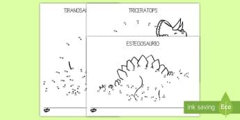 Punto a punto de dinosaurios-Spanish - Dinosaurios, pre-historia, dinos, tiranosaurio, estegosaurio, triceratops, proyectos, aprendizaje ba - Dinosaurios, pre-historia, dinos, tiranosaurio, estegosaurio, triceratops, proyectos, aprendizaje ba