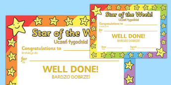 Star of the Week Award Certificate Polish Translation - polish, star of the week, award, certificate
