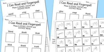 I Can Read Fingerspell Phase 4 CCVCC CCCVC CCCVCC Words Activity, worksheet