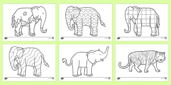 graphic regarding Elmer the Elephant Printable referred to as Elmer - David McKee Storybook Activites Materials
