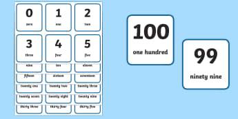 Printable Numbers 1-100 - flash cards, visual, aid, numbers, flash