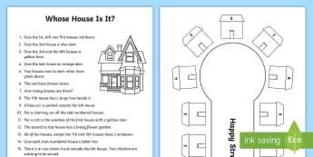 Whose House Is It? Activity - even, odd, add, instructions, colour, objects, observation, follow, special education, literacy, Eng