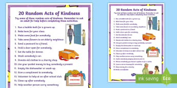 KS2 Random Acts of Kindness Display Poster - Kindness, World Kindness Day, Friendship, Caring, Anti-Bullying Week