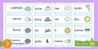 Tarjetas de vocabulario: El tiempo - tiempo, clima, hace sol, hace calor, lluvia, sol, arcoíris, nube, tormenta, nieve, viento, granizo,